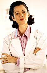 A picture of a female physician at work